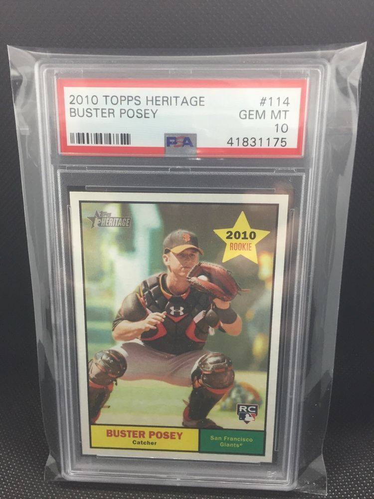 2010 topps heritage buster posey 114 rookie card graded