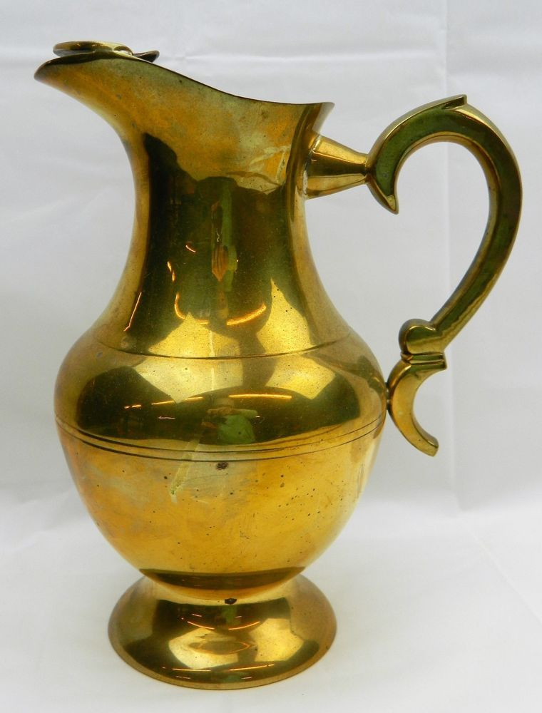 Large Brass Water Pitcher With Ice Lip Catch Jug Handled Vtg Interesting Decorative Water Pitcher