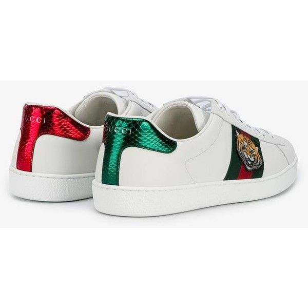 gucci tiger embroidered sneakers 4 165 gtq liked on. Black Bedroom Furniture Sets. Home Design Ideas