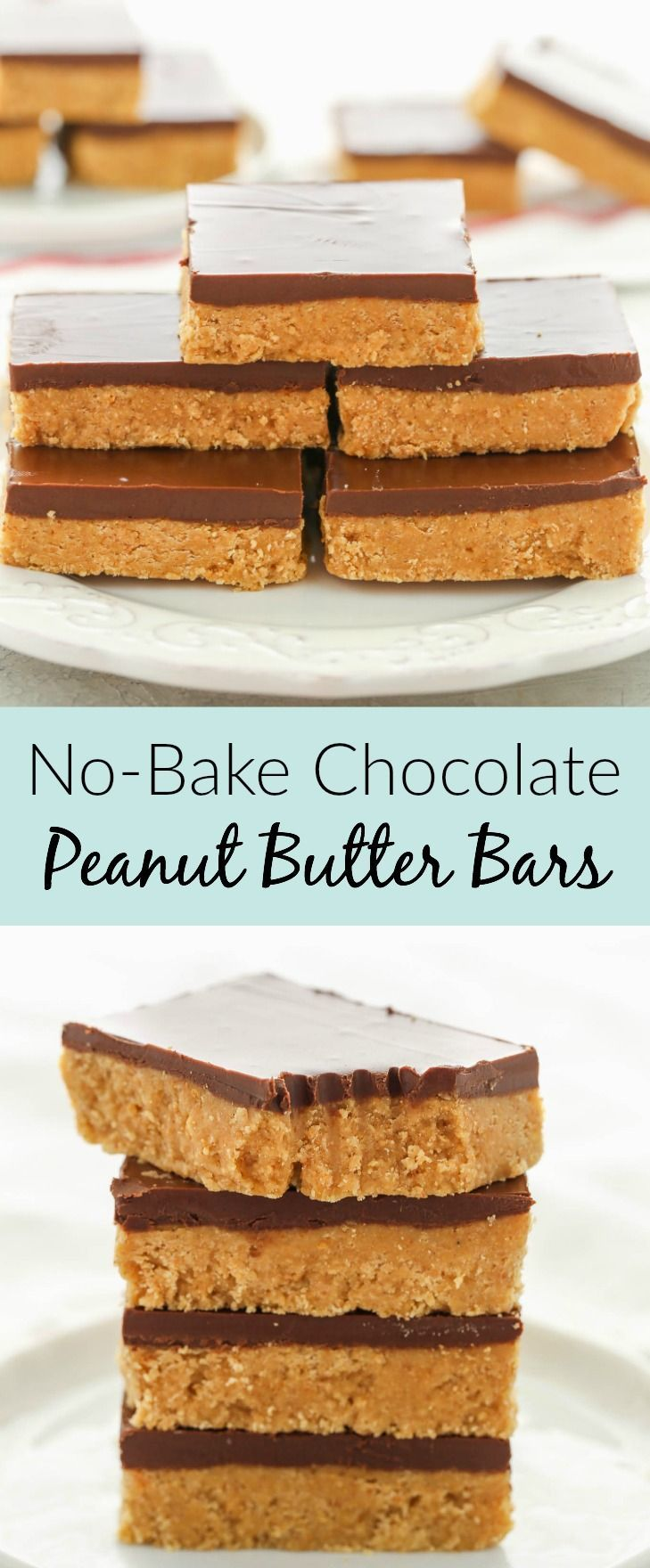 These No-Bake Chocolate Peanut Butter Bars only re... - #Bars #Butter #Chocolate #NoBake #Peanut #peanutbutter #peanutbuttersquares