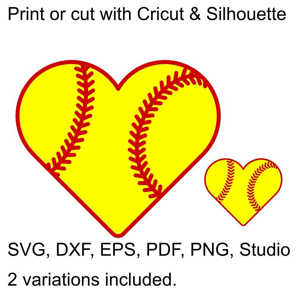 Softball Heart SVG File For Cricut & Silhouette