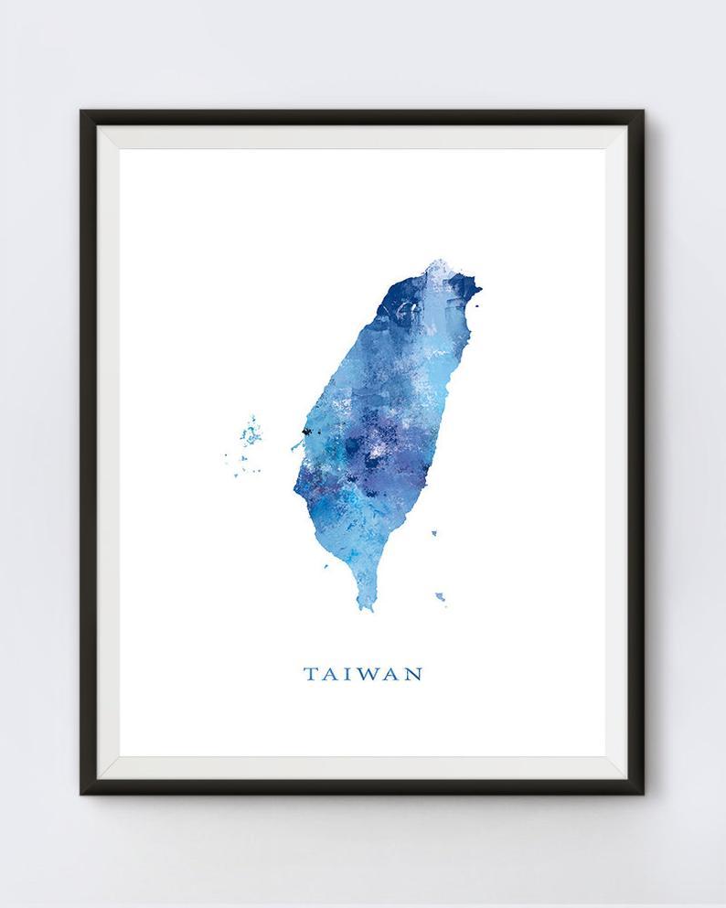 Taiwan Watercolor Map Canvas Wall Art Print Map Home Decor