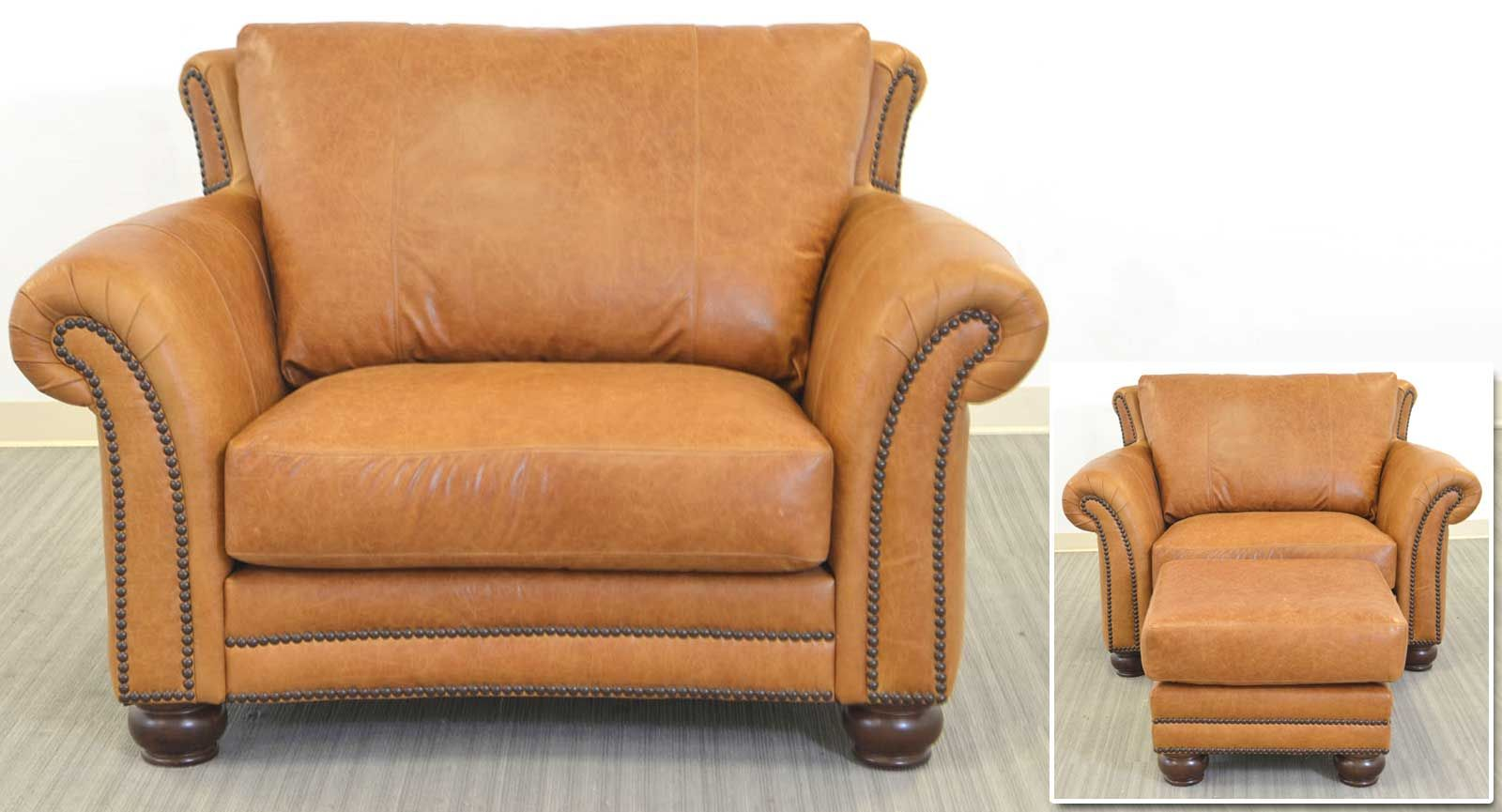 The Angela Chair and a Half and Ottoman is Made in Texas