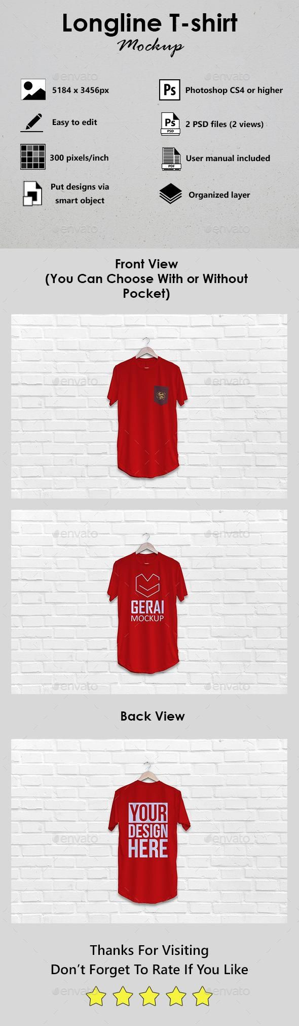 Download Longline T Shirt Mockup Mockup Psd Template Graphicriver Bestdesignresources Tshirt Mockup Clothing Mockup Shirt Mockup