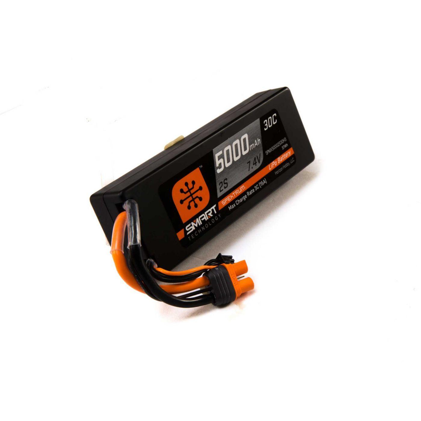 7.4V 5000mAh 2S 30C Smart LiPo Battery, Hardcase, IC3