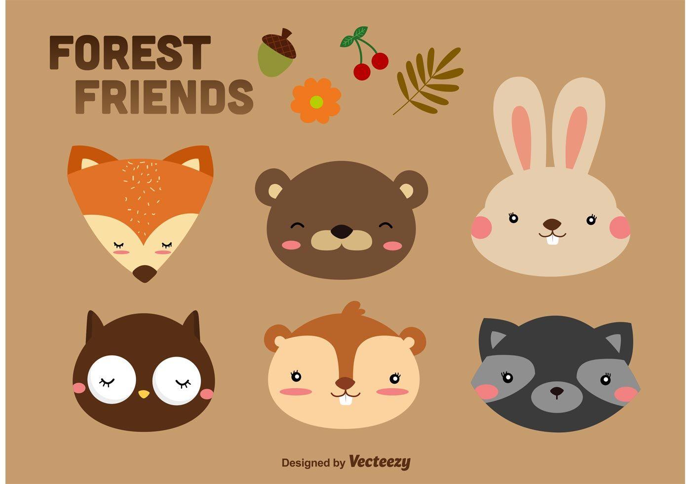 forest animals cartoon vectors including raccoon cartoon bunnies