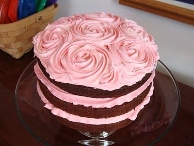 beautiful baby girl birthday cake  pretty easy to do.  Practice first on paper to get the feel for the roses.