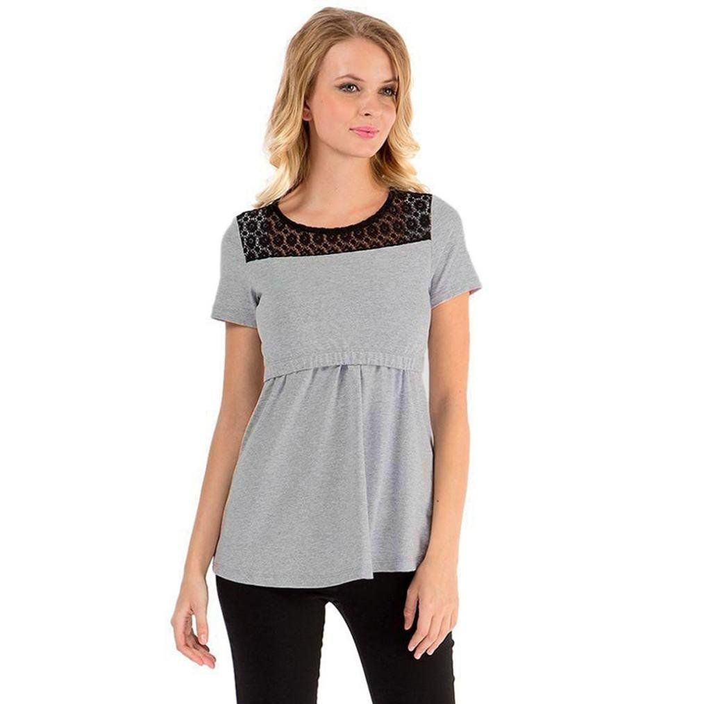 41f22340ba3ee Maternity Styles - Coohole Womens Maternity Nursing Tops Lace Short Sleeve Breastfeeding  Clothes S Gray -- Click image to review even more details.