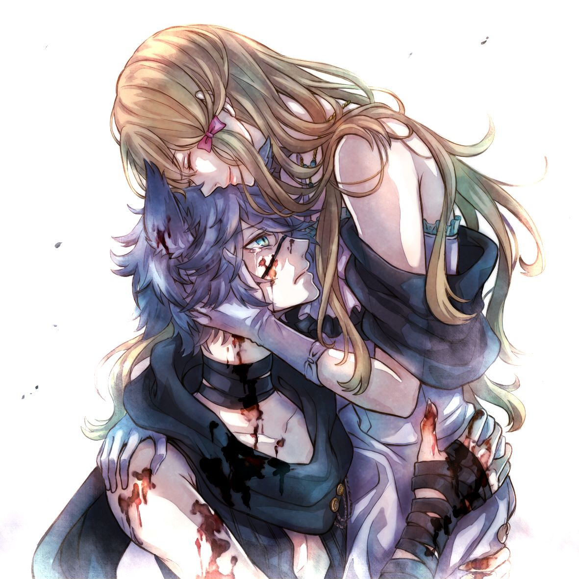 Beautiful moment☺️  Anime wolf girl, Wolf boy anime, Black wolf