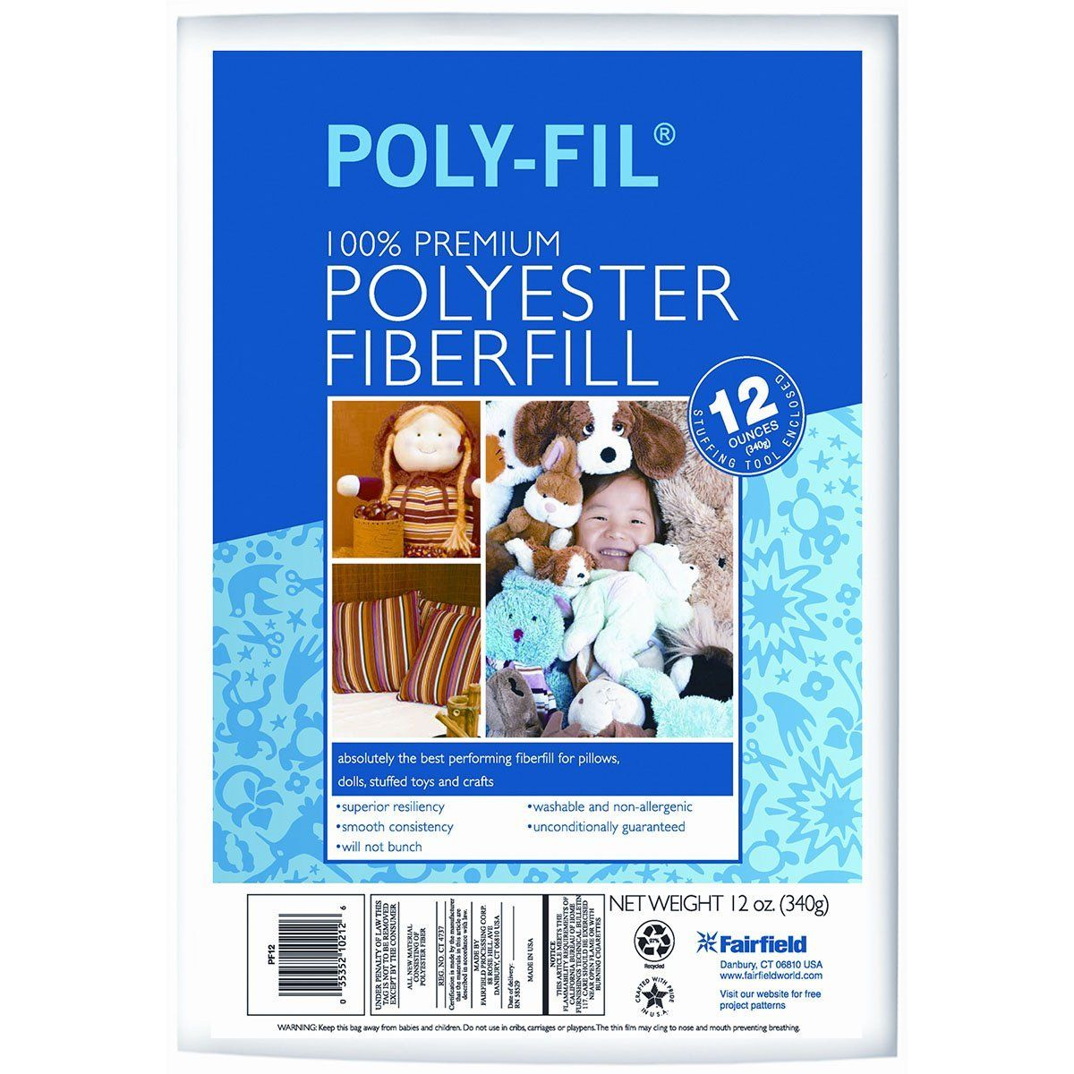 12 oz White Pack of 2 Fairfield FAIPFT12 Fiber Poly Fil Bag