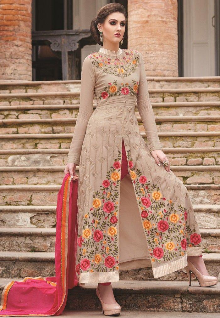 3c655acc0f Brown Georgette #Narrow-Pant Suit with Dupatta - #SALWAR #KAMEEZ - Women