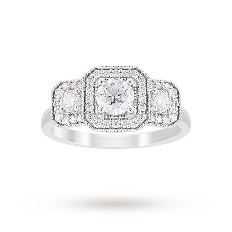 Jenny Packham Three Stone Brilliant Cut 0.95 Carat Total Weight Diamond  Square Art Deco Style Ring in 18 Carat White Gold | Rings | Jewellery |  Goldsmiths