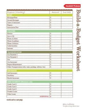 budgeting worksheets free