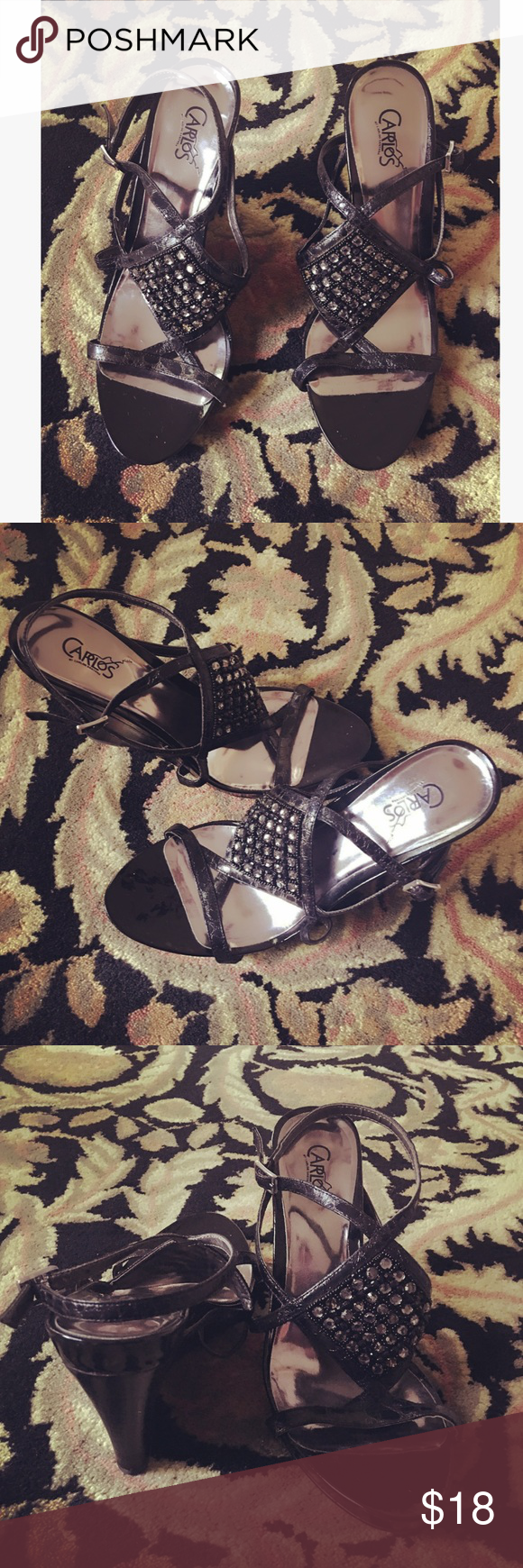 Carlos Santana Shoes  Brand: Carlos Santana. Condition: Used/ Good. Missing a few rhinestones. Carlos Santana Shoes Wedges