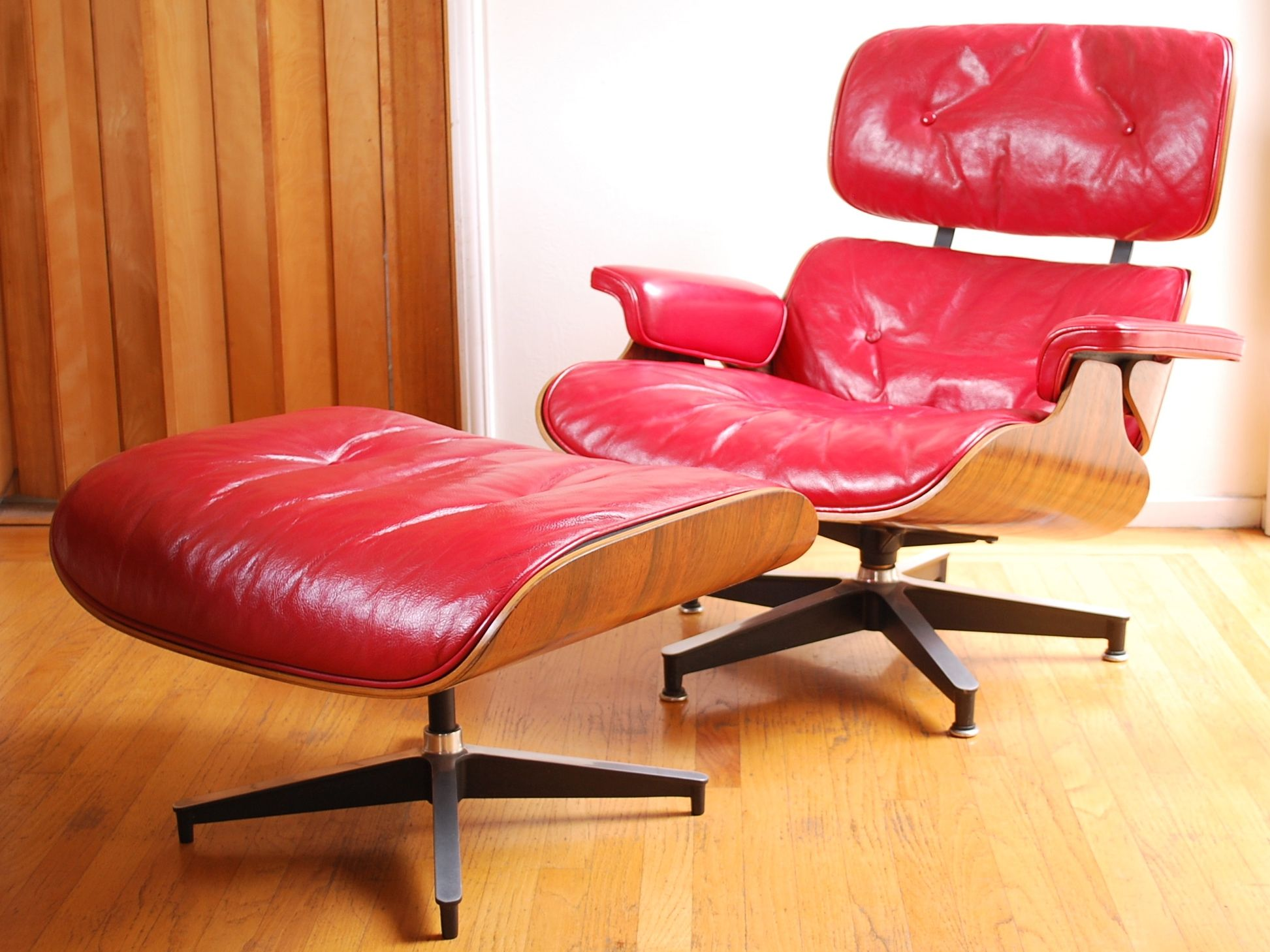 Red Leather Eames Lounge Chair