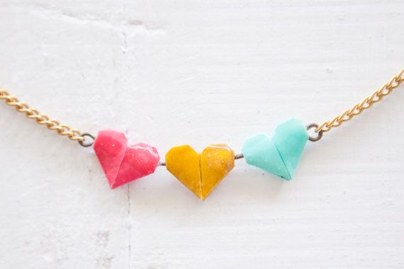 ♥ This beautiful and quirky hand folded Tiny 3 Heart Necklace consists of 3 teeny Origami Hearts, one in Hot Pink, one in Mustard Yellow and