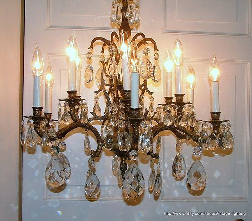 Vintage 108 Glass Crystal Prisms Brass, How To Hang A Heavy Crystal Chandelier