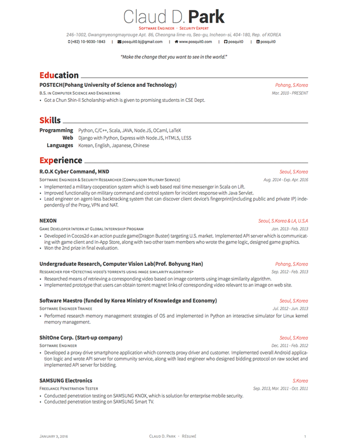LaTeX Templates » Awesome Resume/CV And Cover Letter
