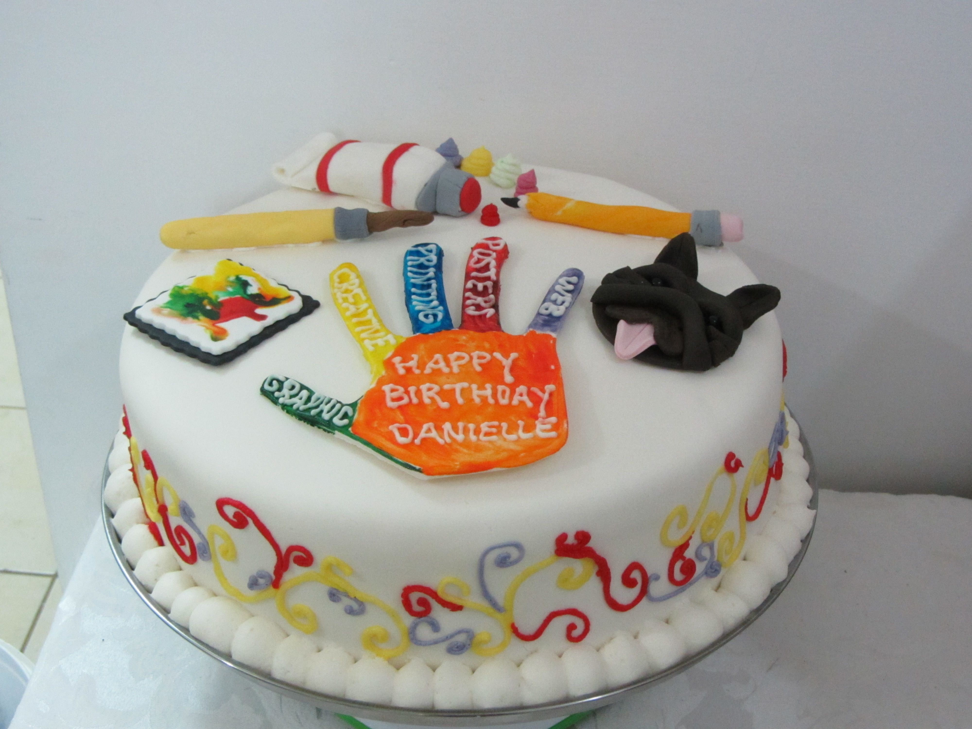 Superb Artists Cake For The Graphic Artist Or Art Lover Teacher With Personalised Birthday Cards Veneteletsinfo
