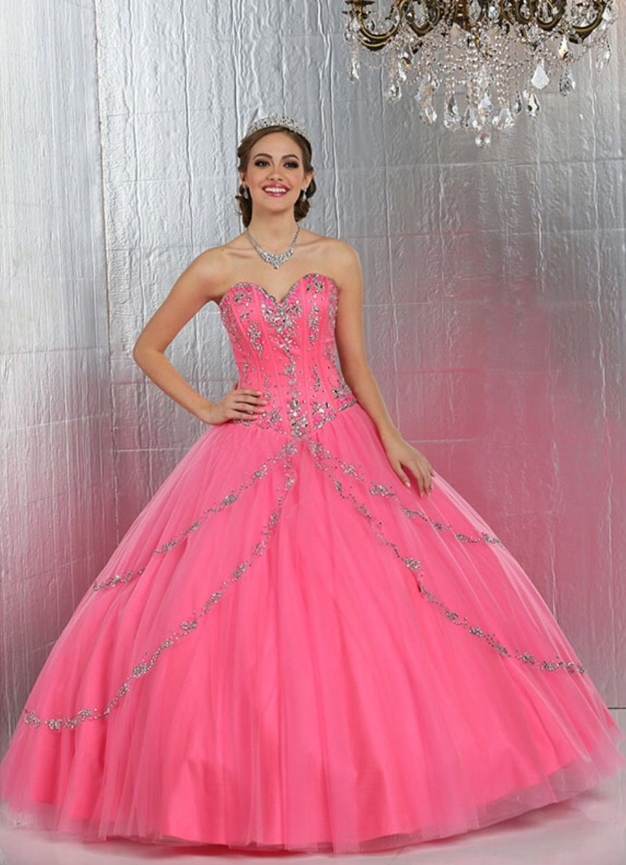 ac12c4cf988 Lovely Hot Pink Quinceanera Dresses Beaded Sweetheart Boned Tulle Ball Gowns  Sweet 15 Dresses Custom Made Vestido 15 Anos