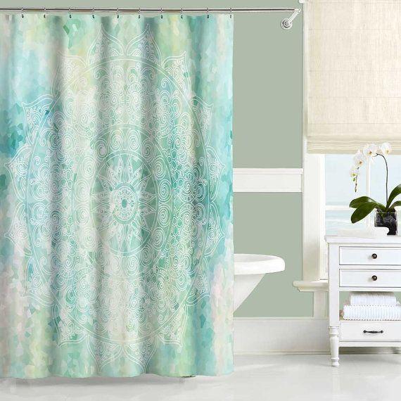 Green Shower Curtain And Bath Mat Bathroom Decor White Turquoise