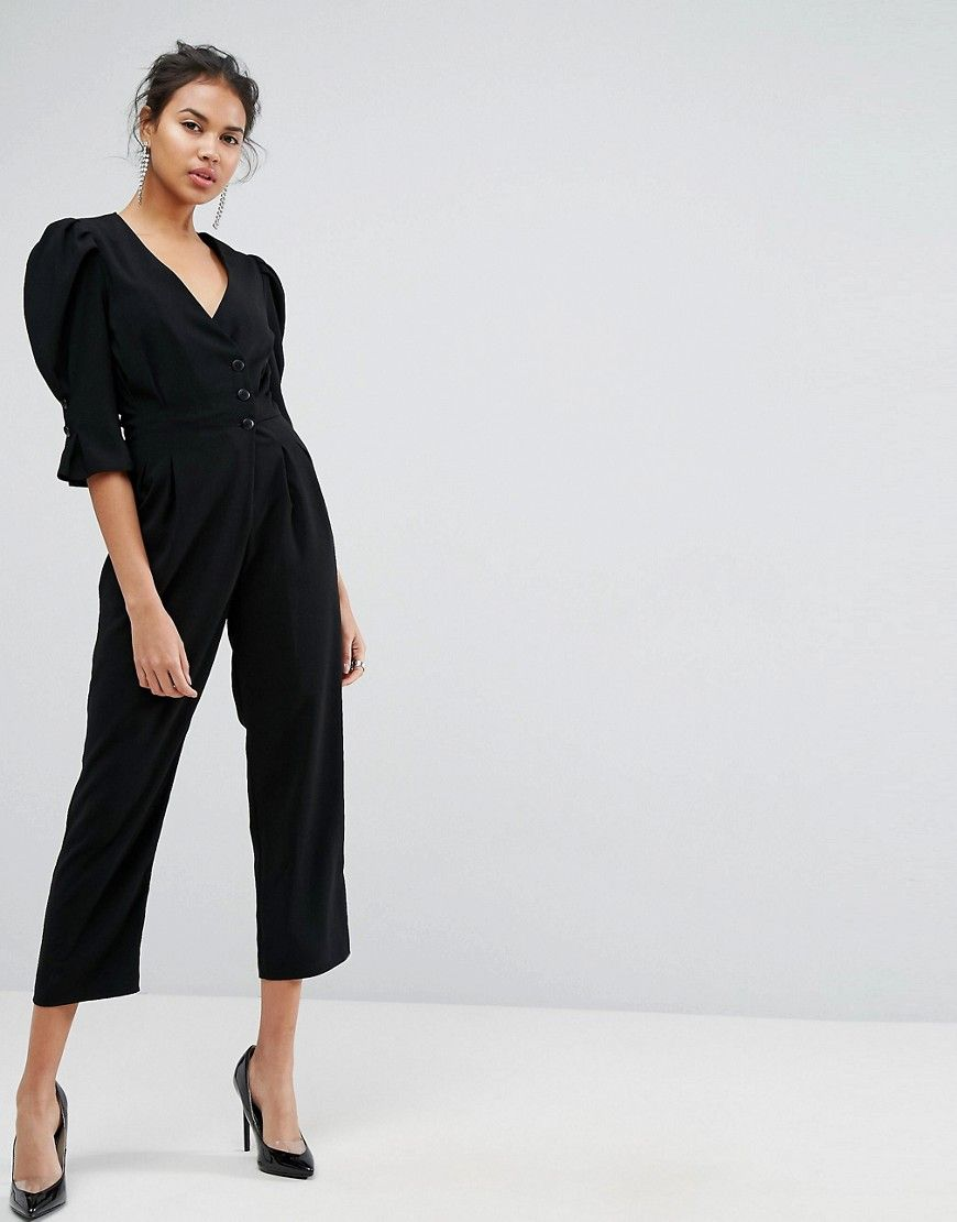 7f60a75c00b0 ASOS Tea Jumpsuit with Button Sleeve and Peg Leg - Black