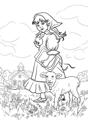 Mary Had A Little Lamb Its Fleece Was White As Snow Coloring Page From Mother Goose Nursery Rhymes Category Adult Source Suupercoloring