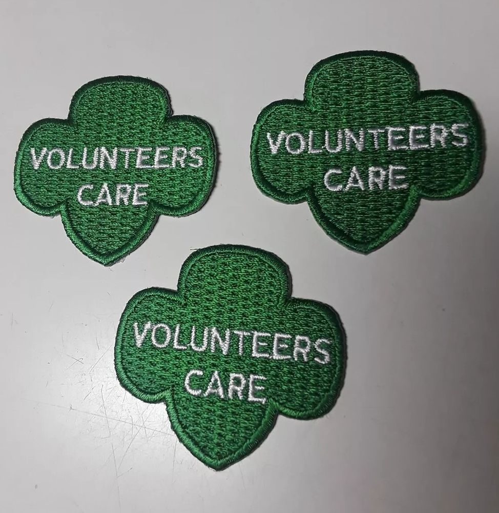 3 Girl Scouts Trefoil Logo Symbol Volunteers Care Green Patches New