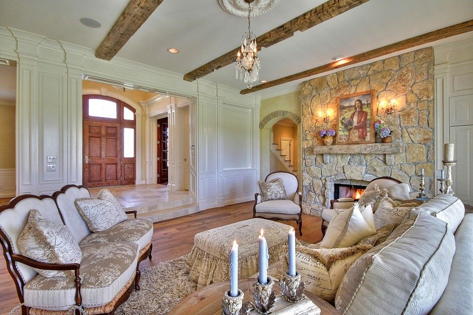 Captivating Living Room : Beautiful French Country Style Living Room Furniture With  Beige Stone Tile Wall Fireplace