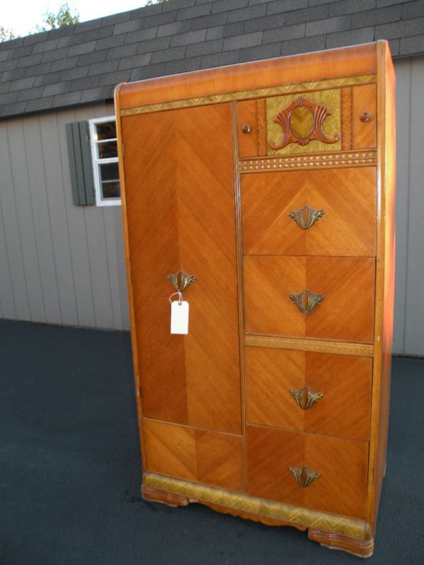 antique art deco waterfall armoire wardrobe closet 375 look familiar susan pinterest. Black Bedroom Furniture Sets. Home Design Ideas