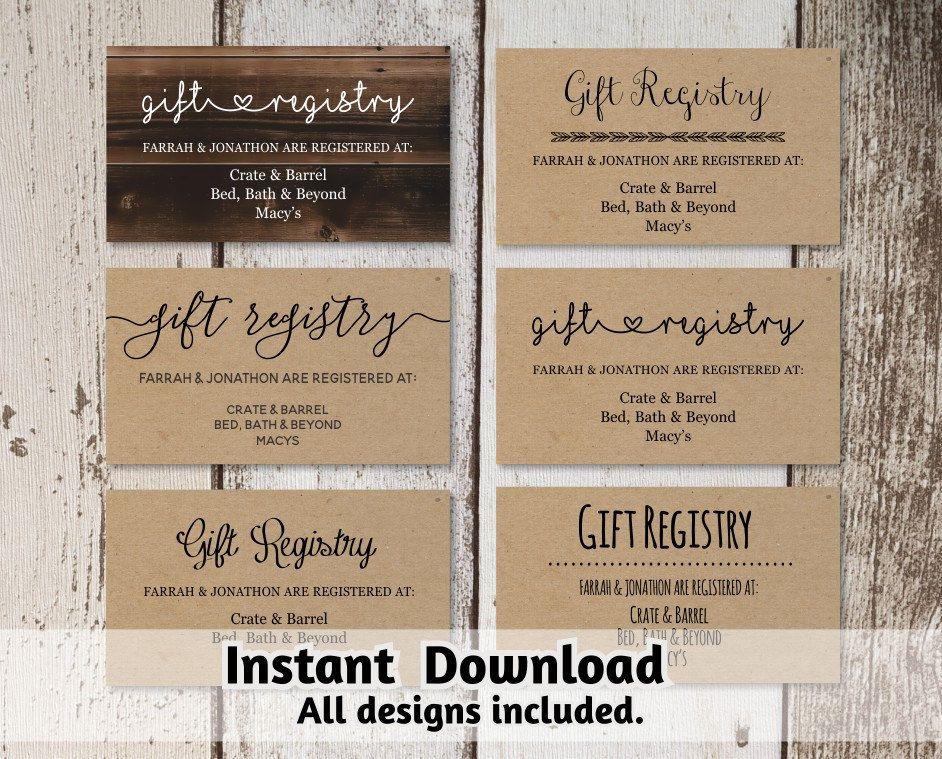 Printable Wedding Registry Card Template Printable Rustic Hearts Boho Arrow On Kraft Paper Registry Cards Wedding Registry Cards Card Templates Printable
