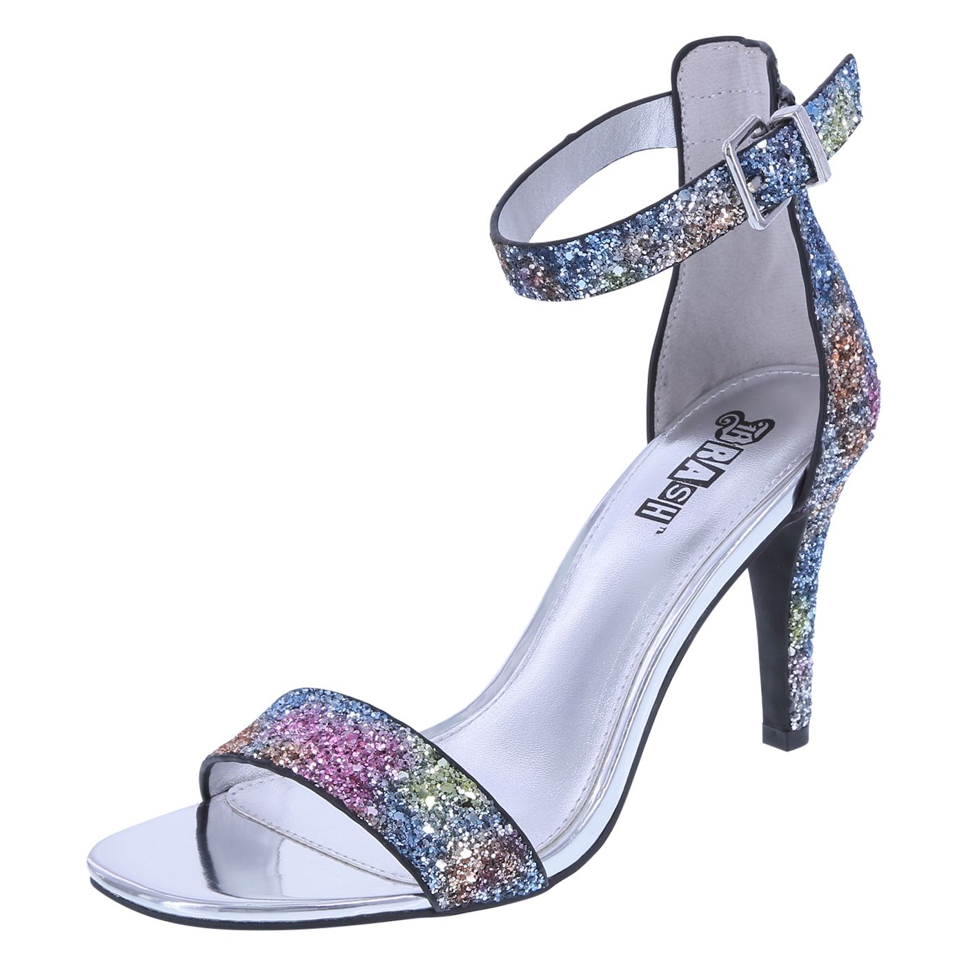 """All eyes will be on you with this gorgeous sandal from Brash! The Kandy features a sleek two-piece design, adjustable ankle strap with buckle, metallic lining, padded insole, 3 1/2"""" wrapped heel, and a rubber outsole. Manmade materials."""