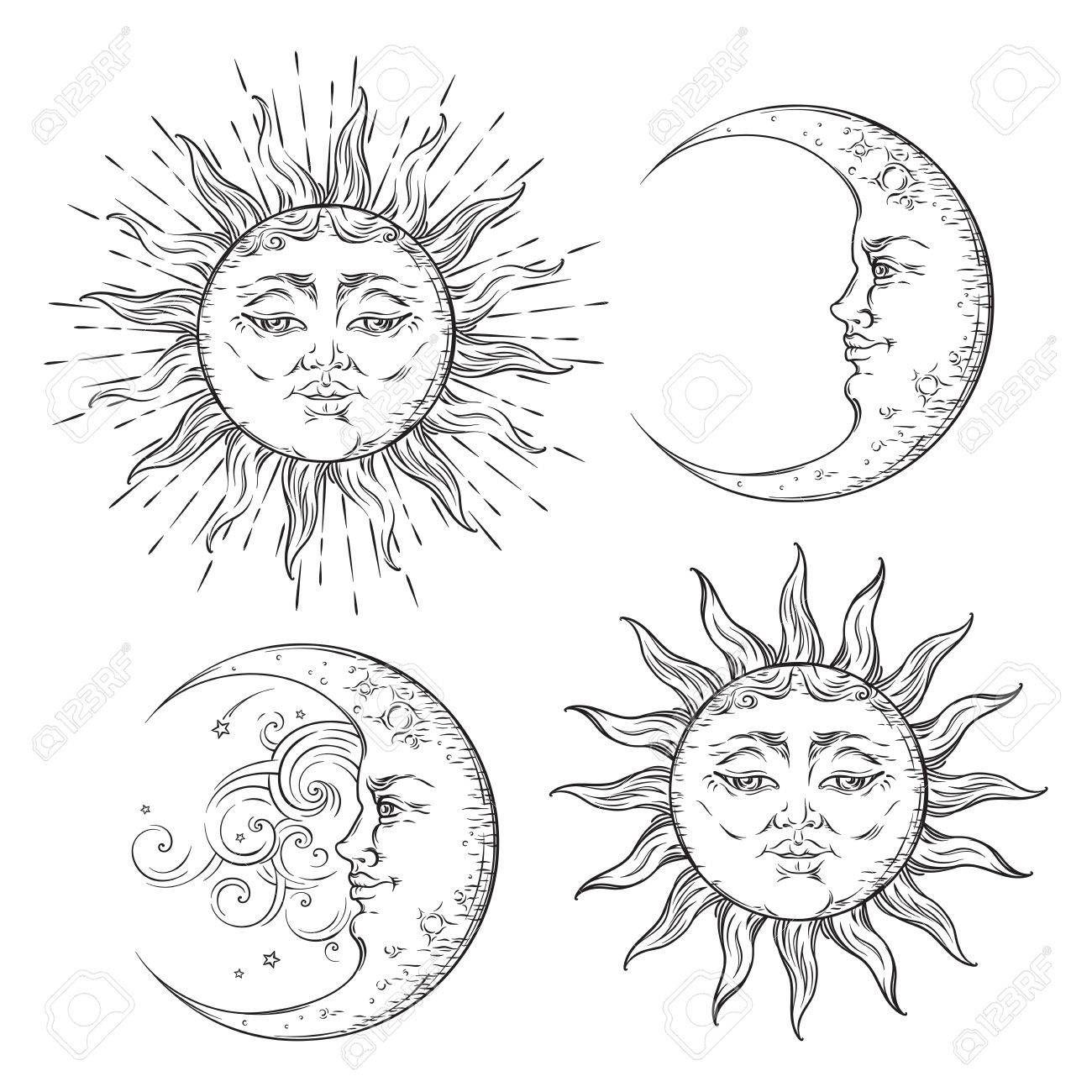 Boho flash tattoo design hand drawn art sun and crescent moon..