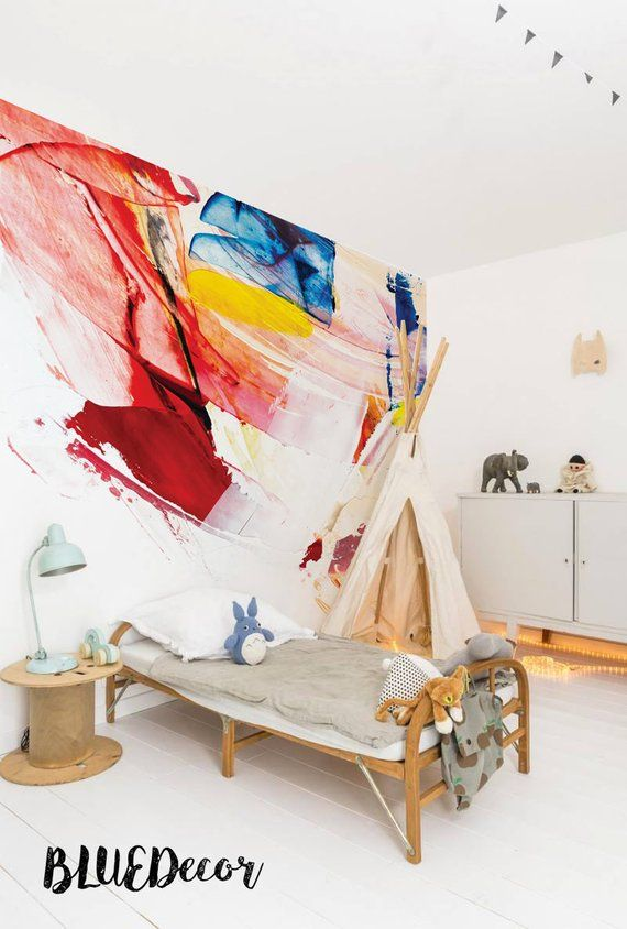 Colorful wallpaper smeared paint removable traditional stains warm colors walldecor decorideas also best abstract wall decorations images on pinterest rh