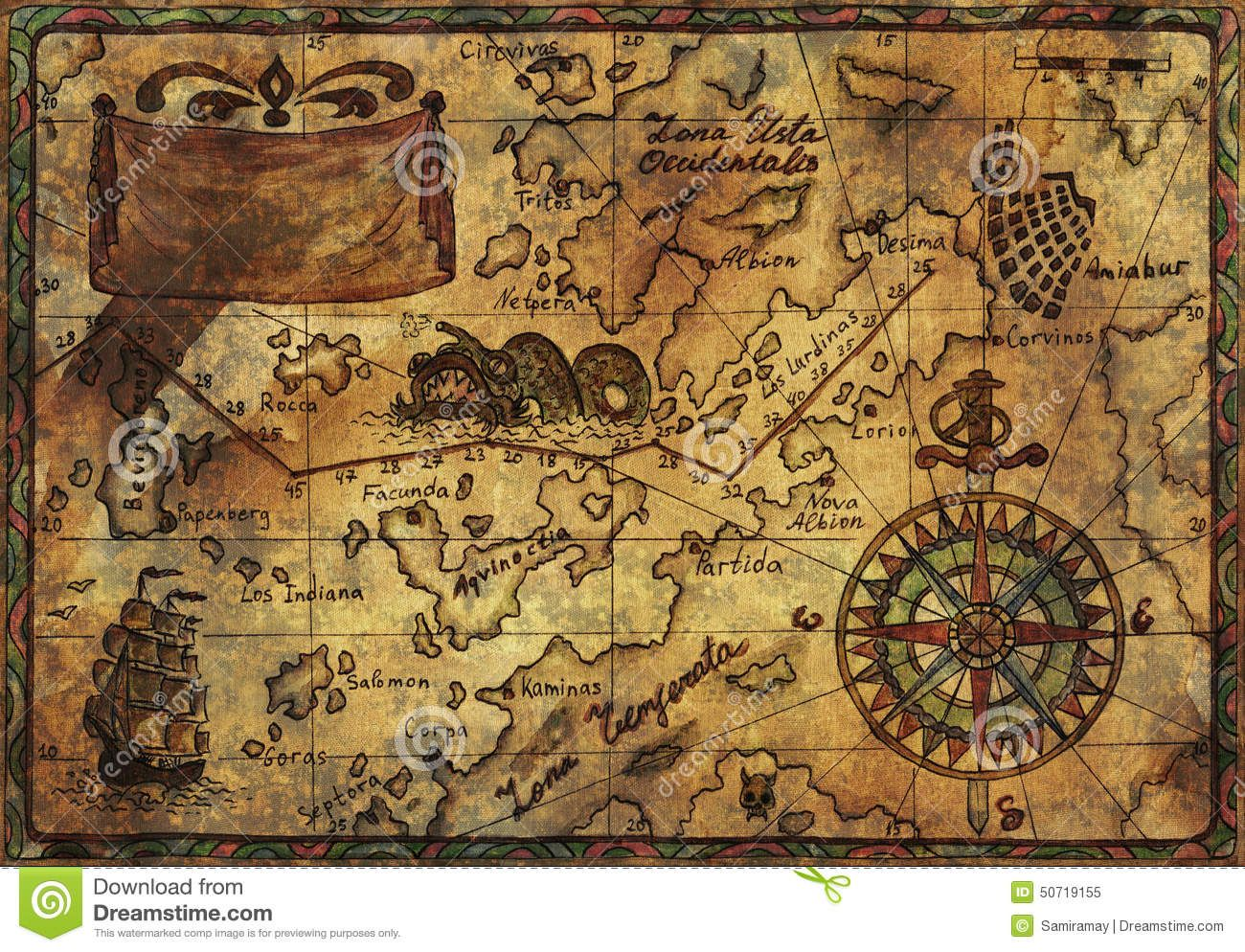 Old pirate map fabric texture effect hand drawn illustration explore vintage maps antique maps and more gumiabroncs Image collections
