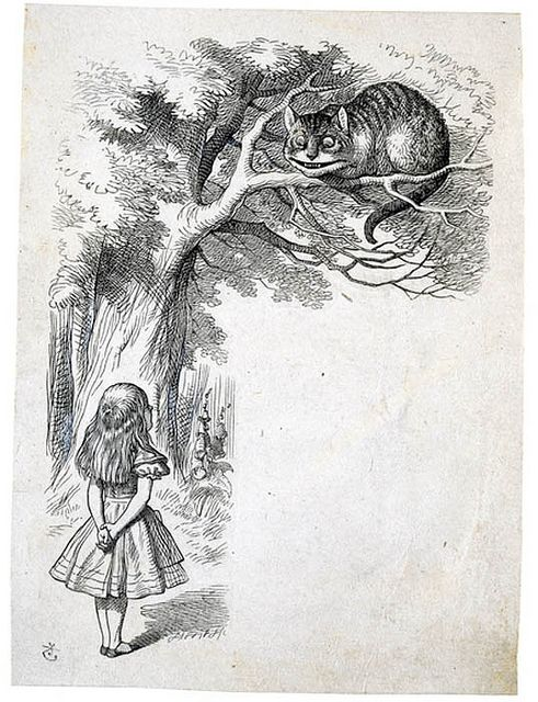 Sir John Tenniel, Alice and the Cheshire Cat, a design engraved on wood by the Dalziel Brothers