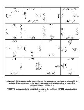 Exponent Magic Square Magic Squares Practice Sheet Square