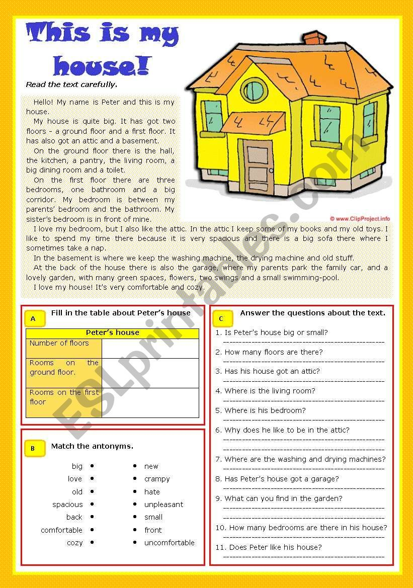 This Is My House Worksheet Comprehension Exercises Reading Comprehension English Reading [ 1169 x 821 Pixel ]
