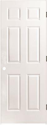 Masonite 6 Panel Prehung Door Primed White Left Hand 24x80 In 81 Prehung Interior Doors Home Depot Interior Doors Prehung Doors