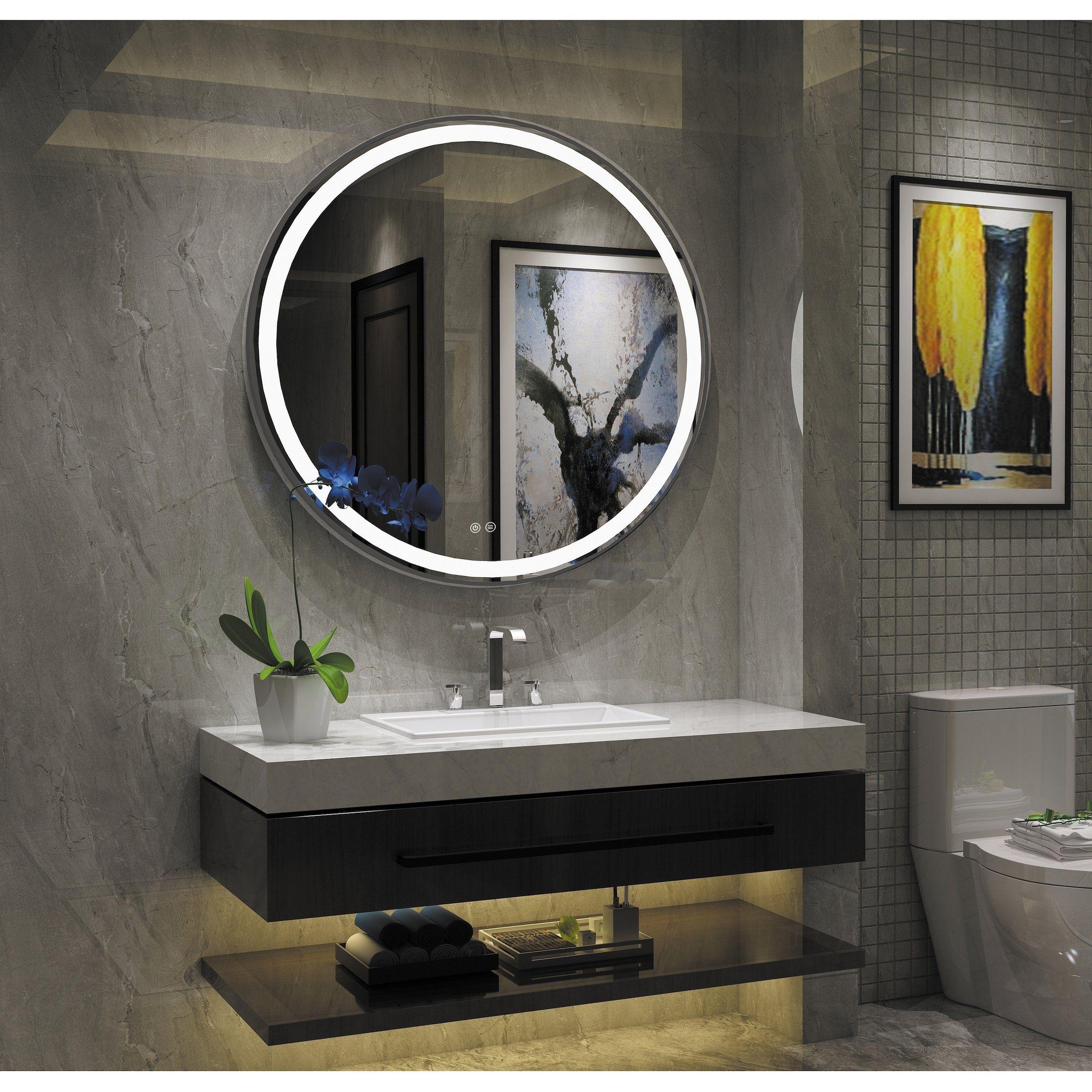 Frameless Wall Mounted Led Bathroom Mirror White Led Mirror Bathroom Bathroom Interior Bathroom Interior Design [ 2408 x 2408 Pixel ]