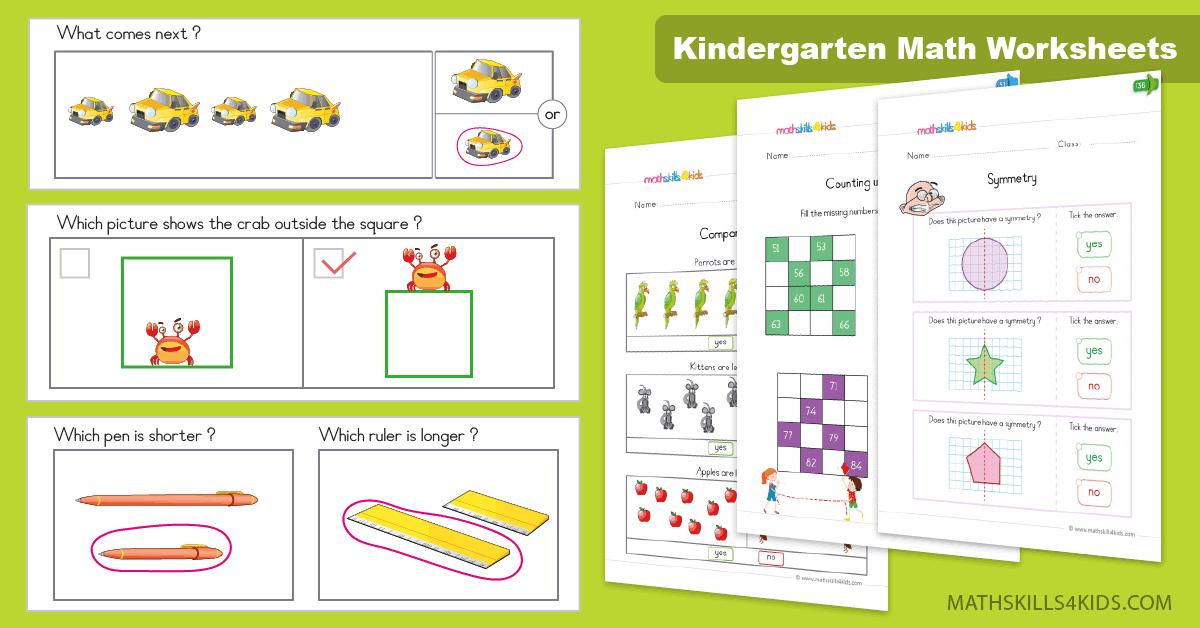 Kindergarten Math worksheets and free printables, Kinders