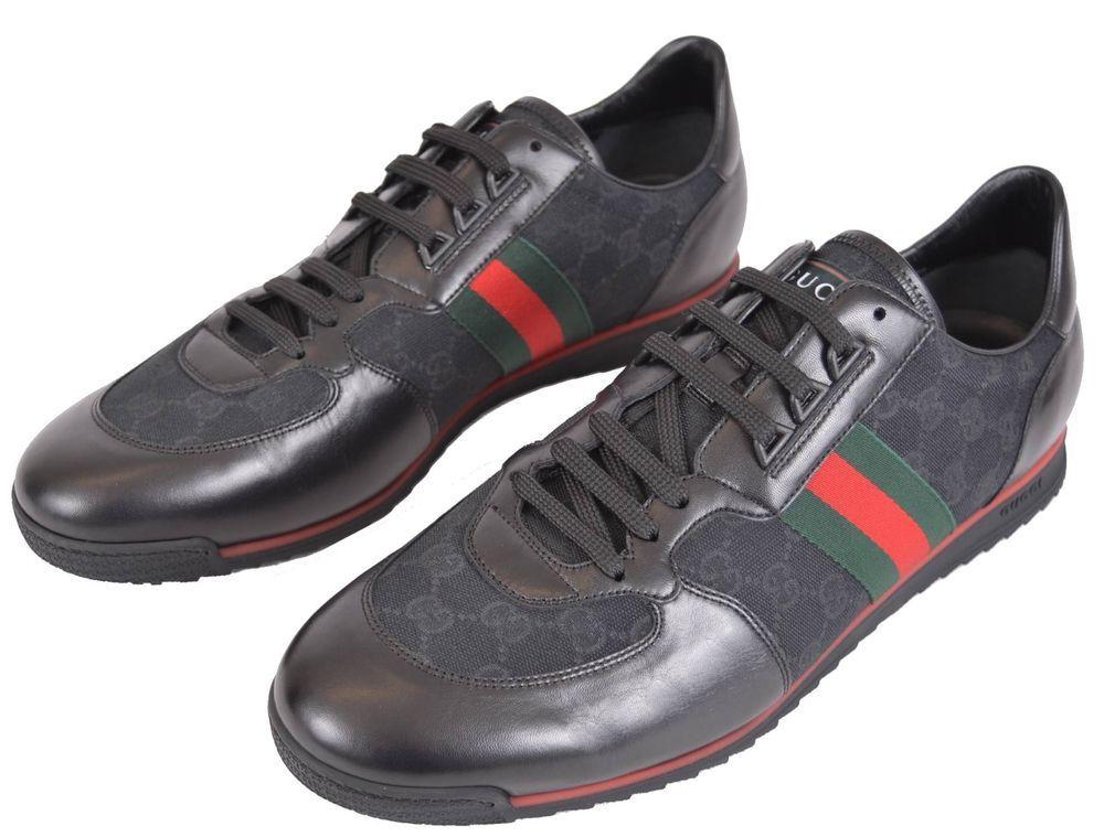 e653bfa86682 New Gucci Men s 237715 Black GG Red Green Web Stripe Sneakers Shoes 13.5  14.5 US  Gucci  AthleticSneakers