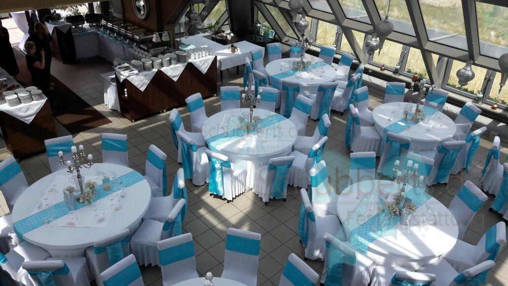 Hochzeitsdekoration Weiss Turkis Runde Tische Wedding In 2018