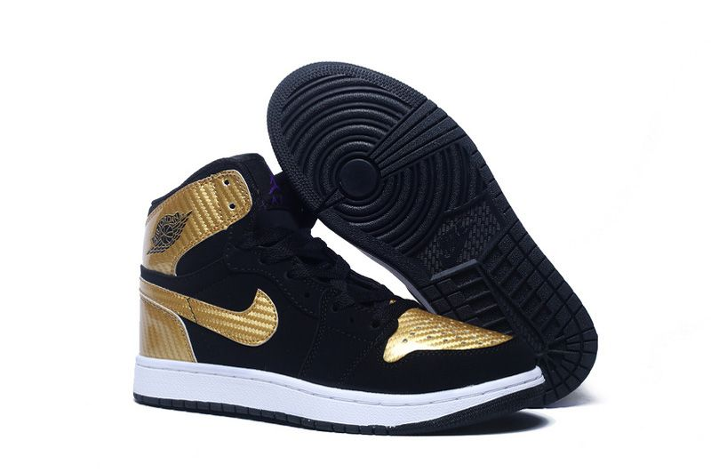 ... nike air jordan 1(i) retro women shoes black gold white ...
