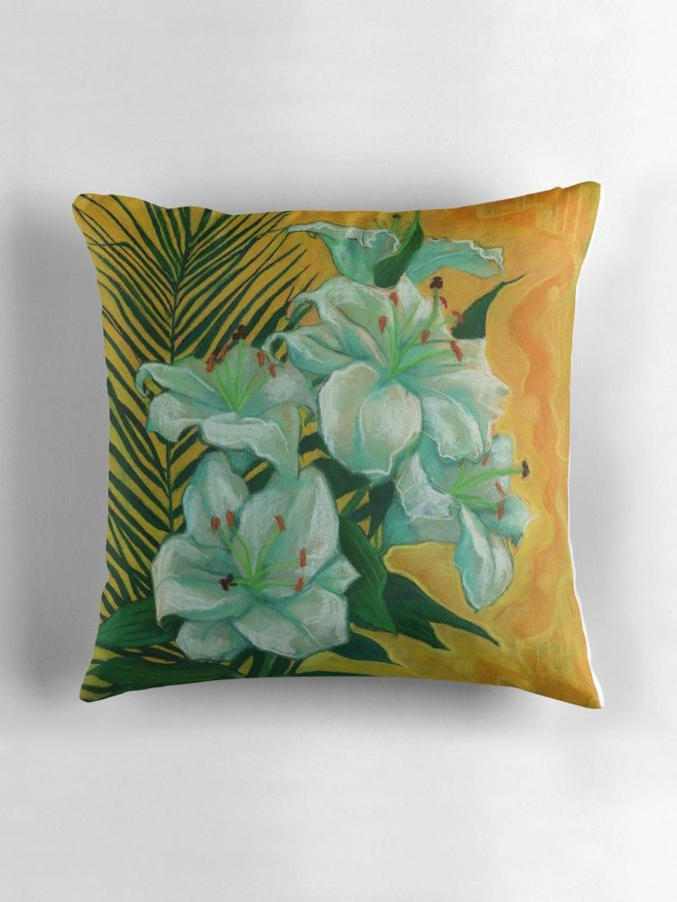Fabulous White Lilies And Palm Leaf Floral Art Yellow Green Throw Ocoug Best Dining Table And Chair Ideas Images Ocougorg