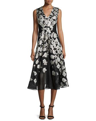 3493f8429b29 Sleeveless Stamped-Floral Dress, Black by Lela Rose at Neiman Marcus ...