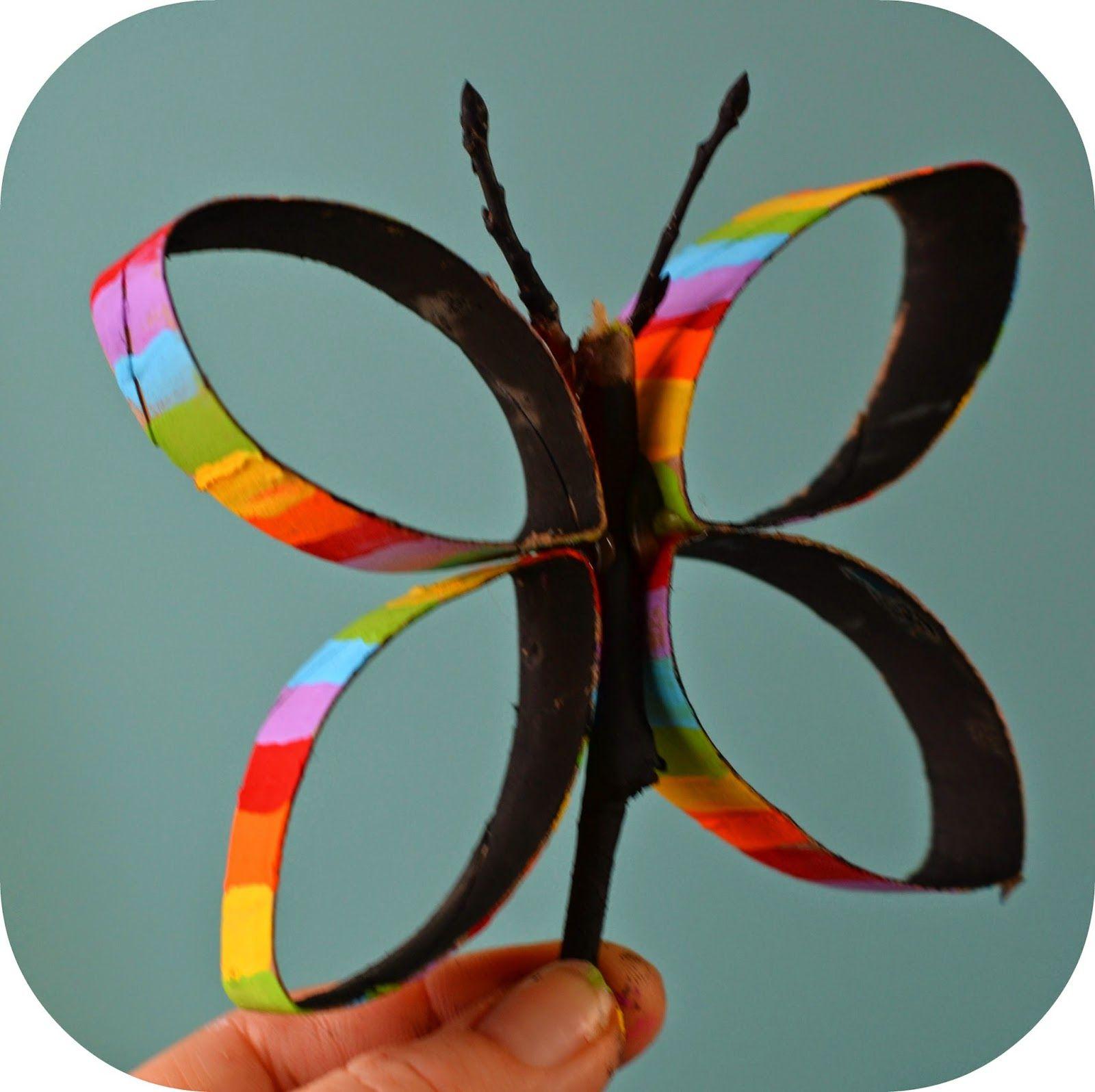 Toilet paper roll butterflies kidscraft twig and for Paper art butterfly