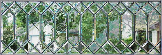 ZOOM to closeup of custom leaded glass DBLHST all beveled transom window
