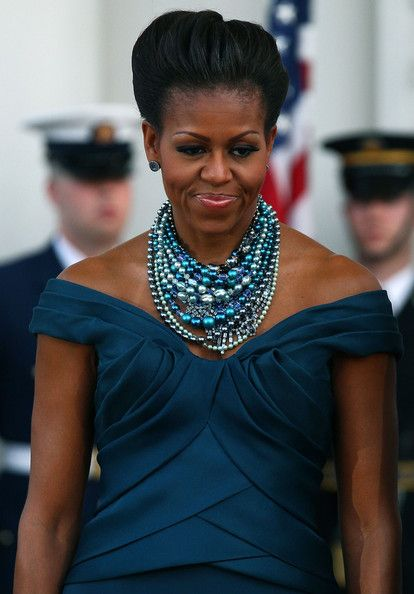 Michelle Obama Beaded Statement Necklace     Michelle Obama wore this layered necklace of shades of blue for the visit from the Prime Minister.