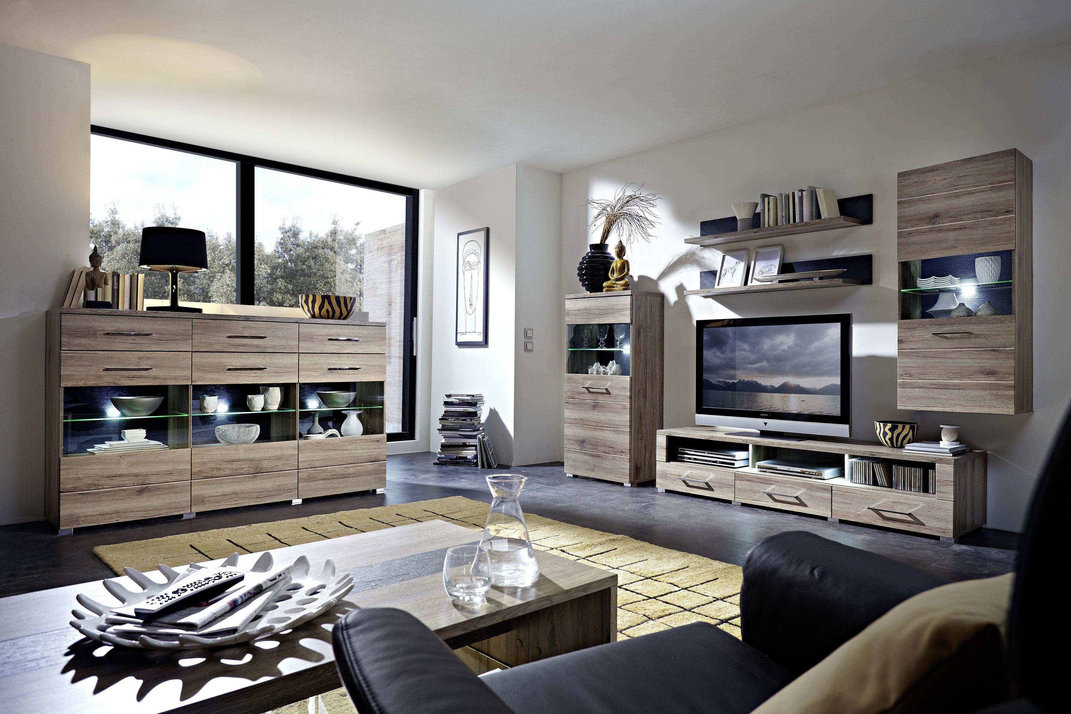 Wohnwand Mit Highboard San Remo Eiche / Schiefer Woody 22 00454 Holz Modern  Jetzt Bestellen